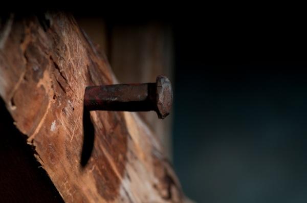 Religion vs Gospel - Cross with Nail in it