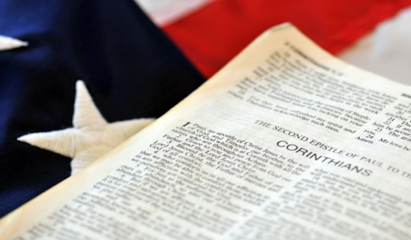 Scripture on Politics - Bible with American Flag
