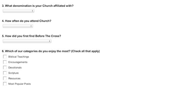 Before The Cross Reader Survey